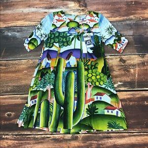 ORIENTIQUE Multicolor Mural Pattern Dress Size M